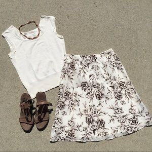 LOFT A-Line Linen Skirt Brown and White Floral 2P